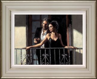 Fabian And Lucy at the Balcony. Signed Limited Edition hand Embellished Print on Board by Fabian Perez. Framed in the Artists Recommended Frame.