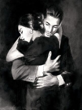 The Embrace II - Signed Limited Edition paper print by Fabian Perez. Framed in the Artists Recommended Frame.