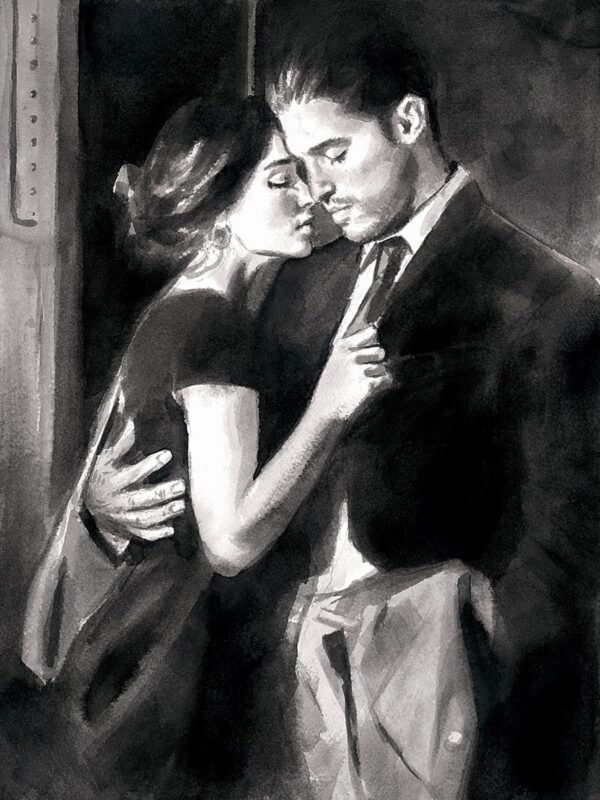 The Train station V - Signed limited edition paper print by Fabian Perez. Framed in the Artists Recommended Frame