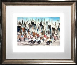 Four Go Cycling By Sue Howells Framed