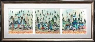 Slip Sliding Away Tiptych by Sue Howells Framed
