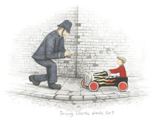 Driving Liscence Please Sir Sketch by Leigh Lambert